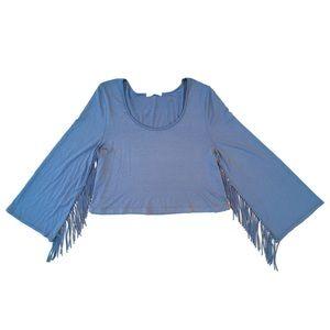 UO Entro Blue Fringe Long Sleeve Crop Top Blouse